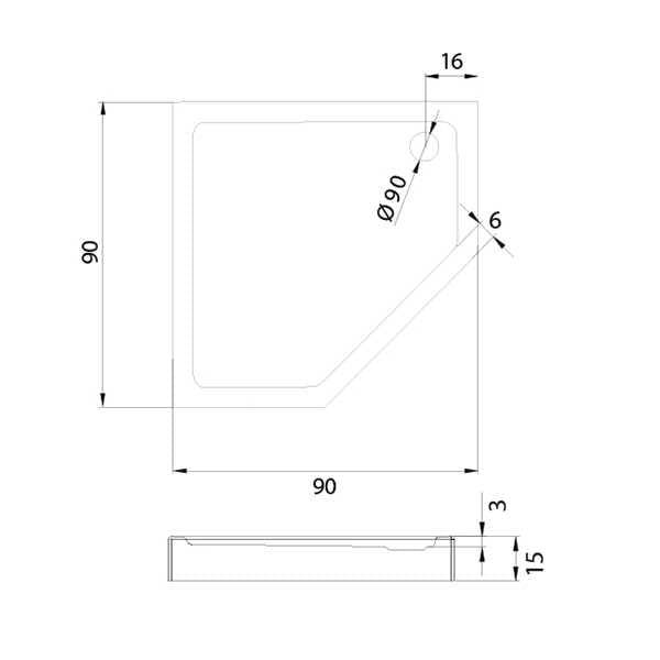 New Trendy | Brodzik pieciokątny NEW AZURA  90 x 90 x 15cm   B-0366