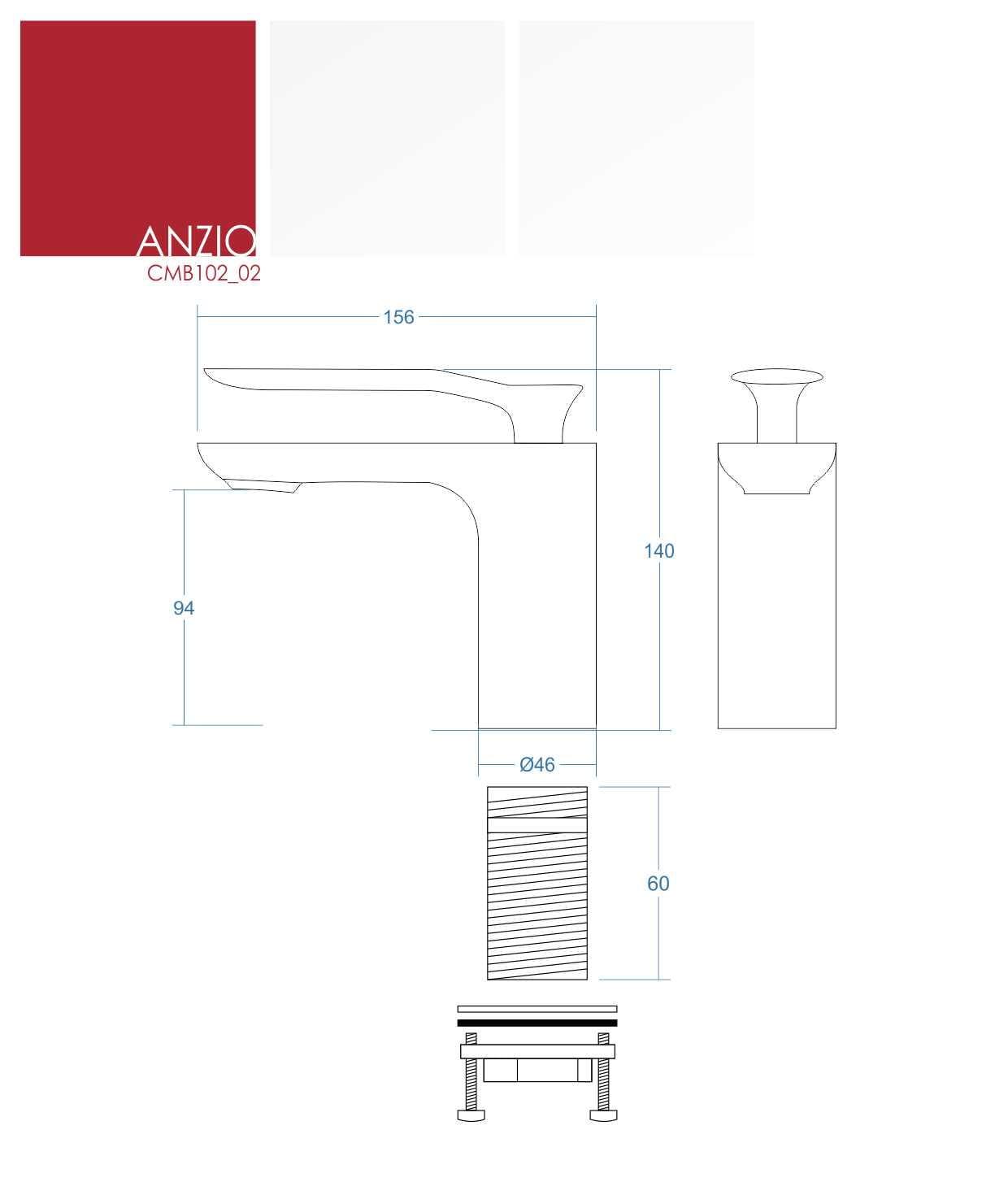 Corsan bateria umywalkowa niska Anzio CMB102 02 biała