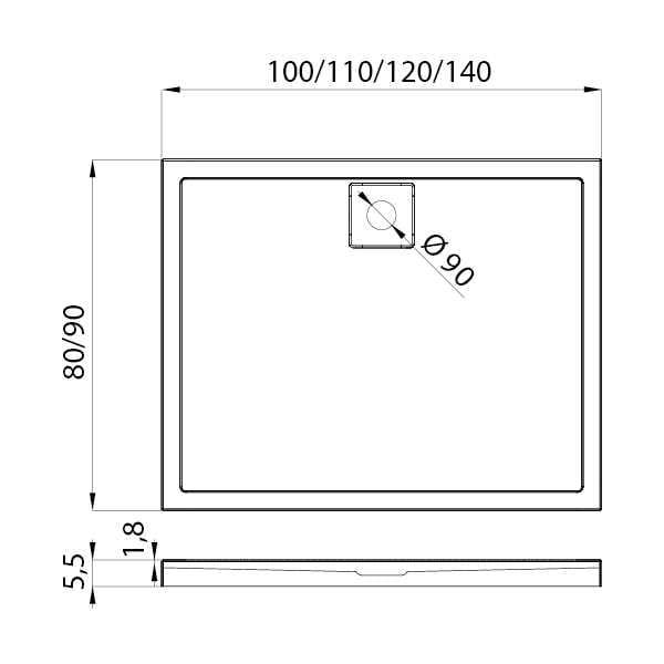 New Trendy | Brodzik LIDO 110 x 80 x 5,5 cm     B-0328