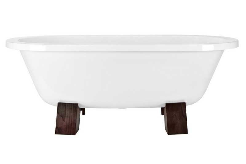 Besco wanna wolnostojąca Gracja drewniane nogi 185 x 83 cm biała