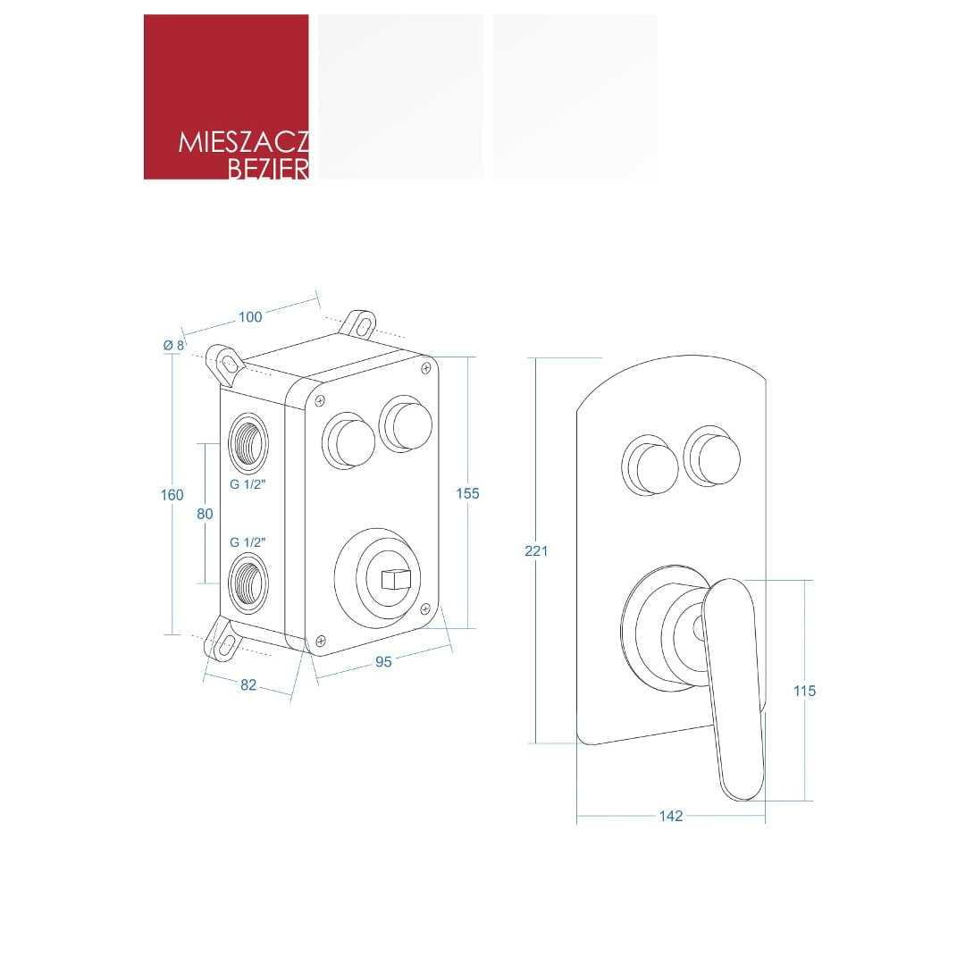 Corsan Anzio Bezier Prysznicowy zestaw podtynkowy mieszacz CZARNY CMZ046