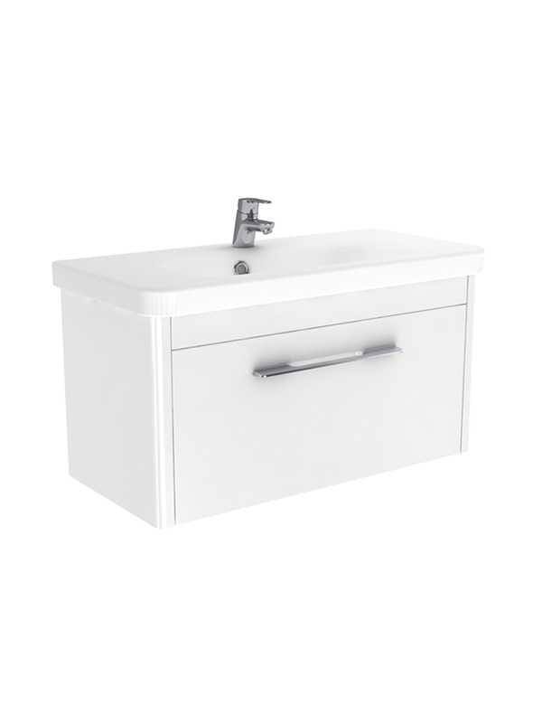 New Trendy Vito szafka wisząca + umywalka biały połysk 80 cm ML-8080/U-0087