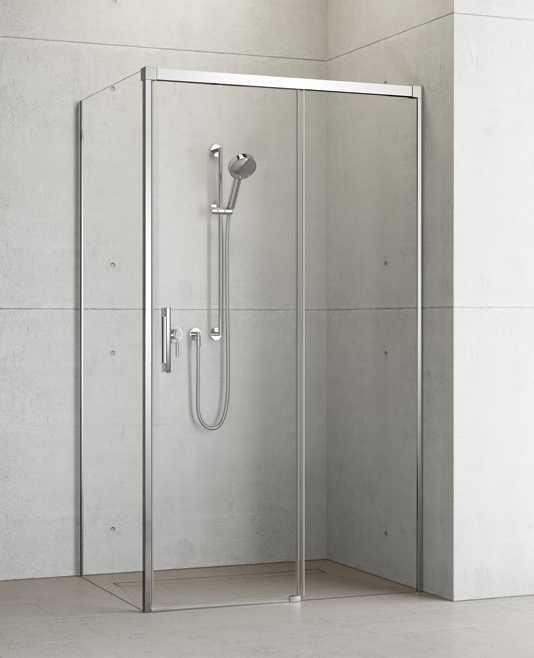 Kabina prysznicowa Radaway Idea KDJ drzwi 150 prawe x ścianka 120 lewa, szkło przejrzyste wys. 205 cm, 387045-01-01R/387054-01-01L