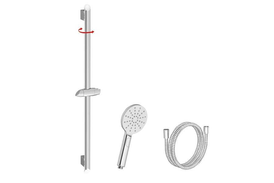 Ravak  zestaw prysznicowy-wąż 150cm, słuchawka Flat Mgła, drążek 90cm  920.00 X07S001