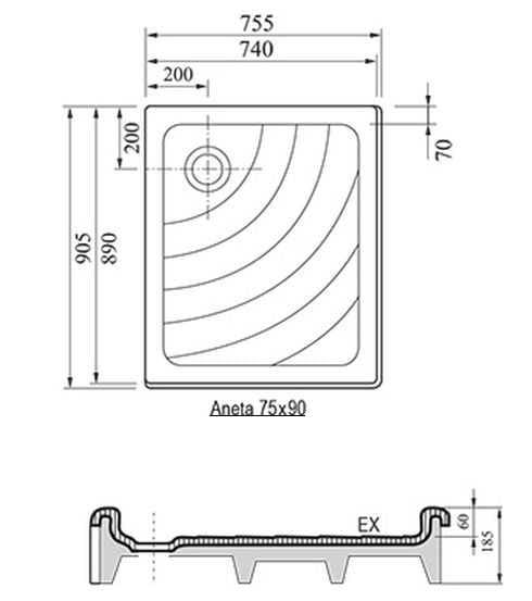Ravak brodzik prostokątny ANETA EX 75x90  A003701320