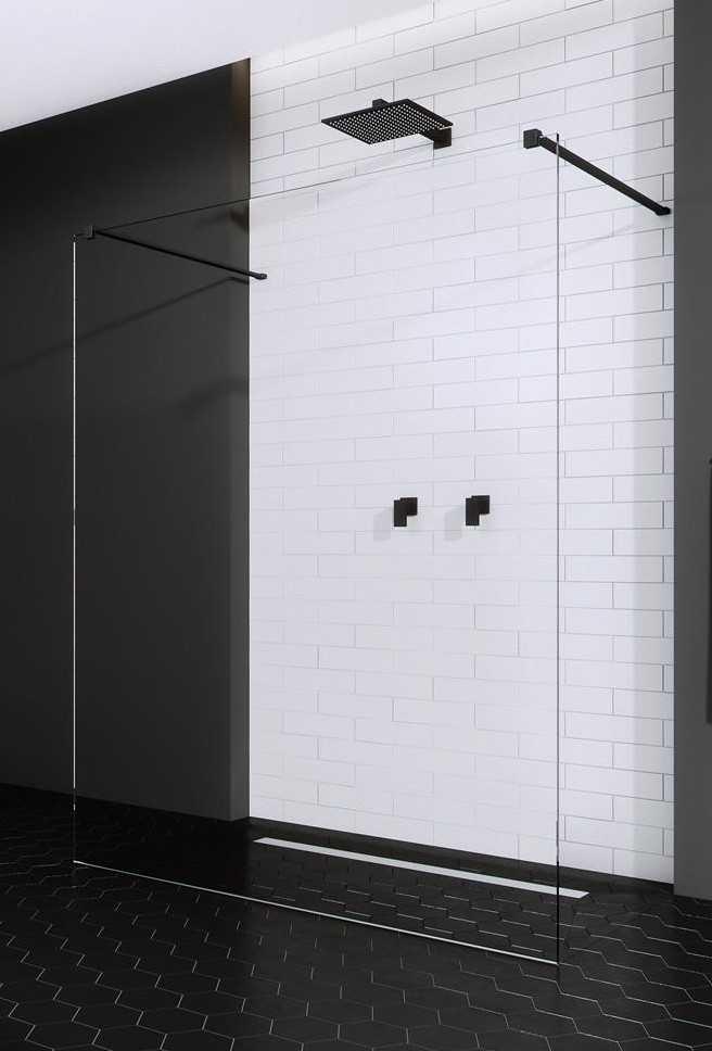 Kabina prysznicowa Walk-In Radaway Modo New Black I 160 cm, szkło przejrzyste, wys.200 cm 388164-54-01