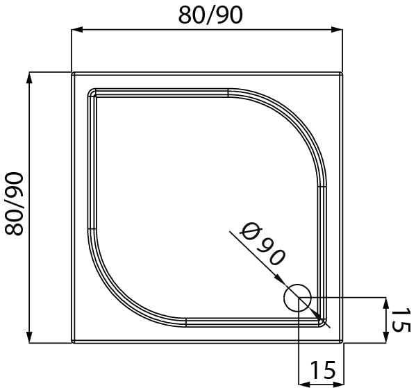 New Trendy | Brodzik IDEO 90 x 90 x 5,5 cm   B-0319