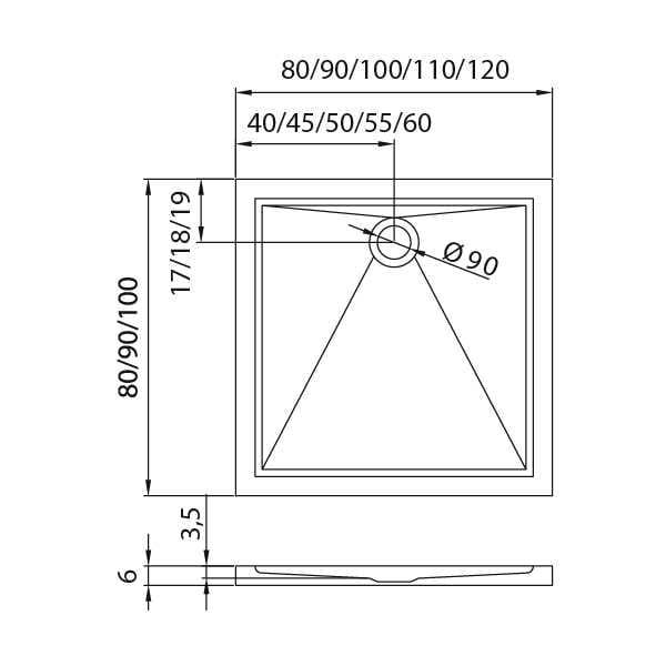 New Trendy |  Brodzik CANTARE 100 x 90 x 6 cm    B-0141